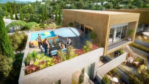 perspective 3D exterieure terrasse haut de gamme