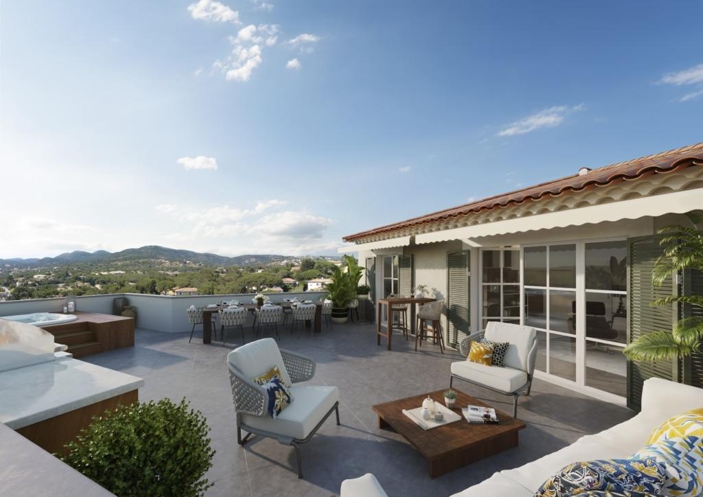 intégration 3D rendu terrasse programme immobilier neuf