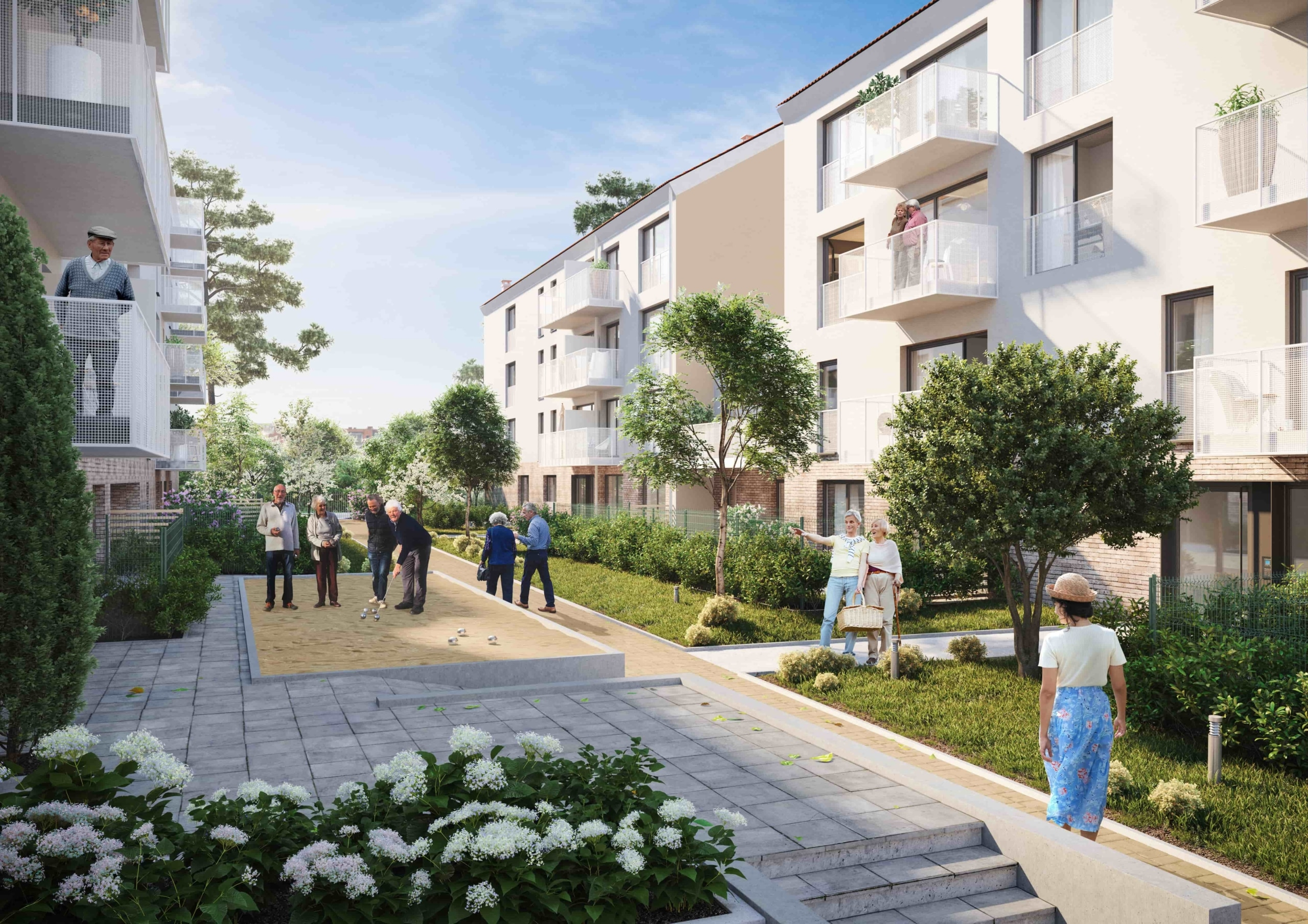 perspective 3D extérieure résidence séniors