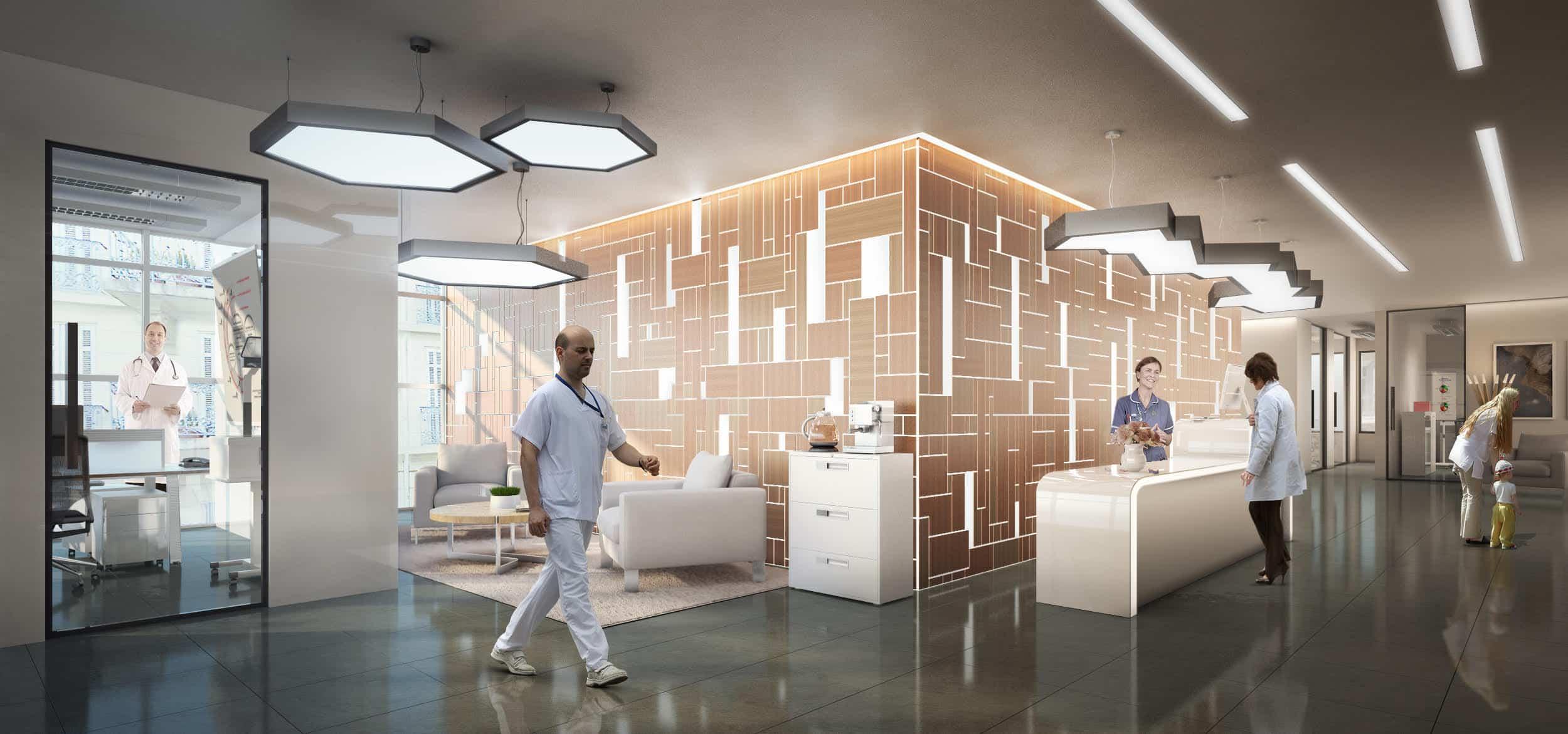perspective 3D architecture tertiaire interieure