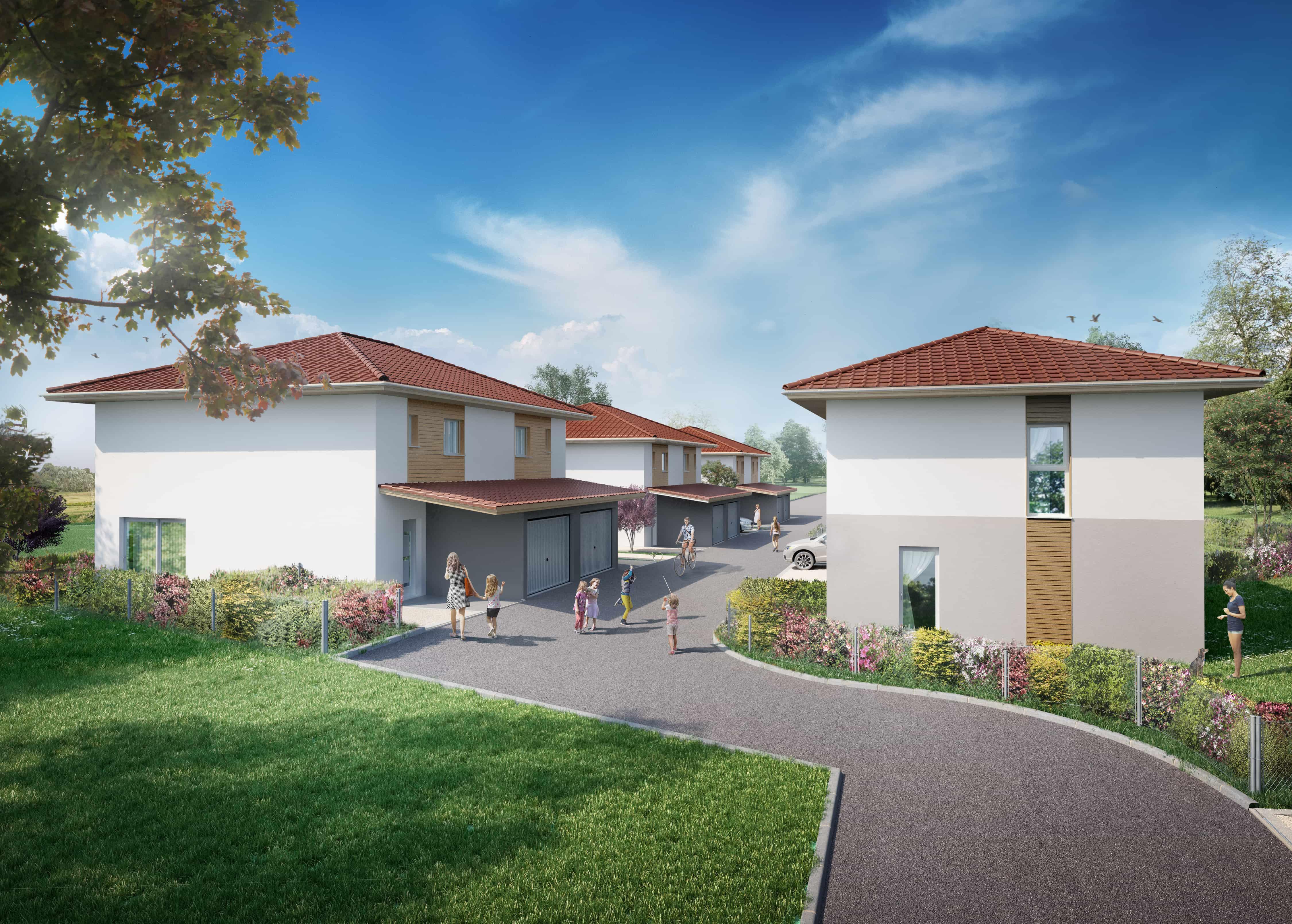 perspective 3d d'architecture lotissement residentiel
