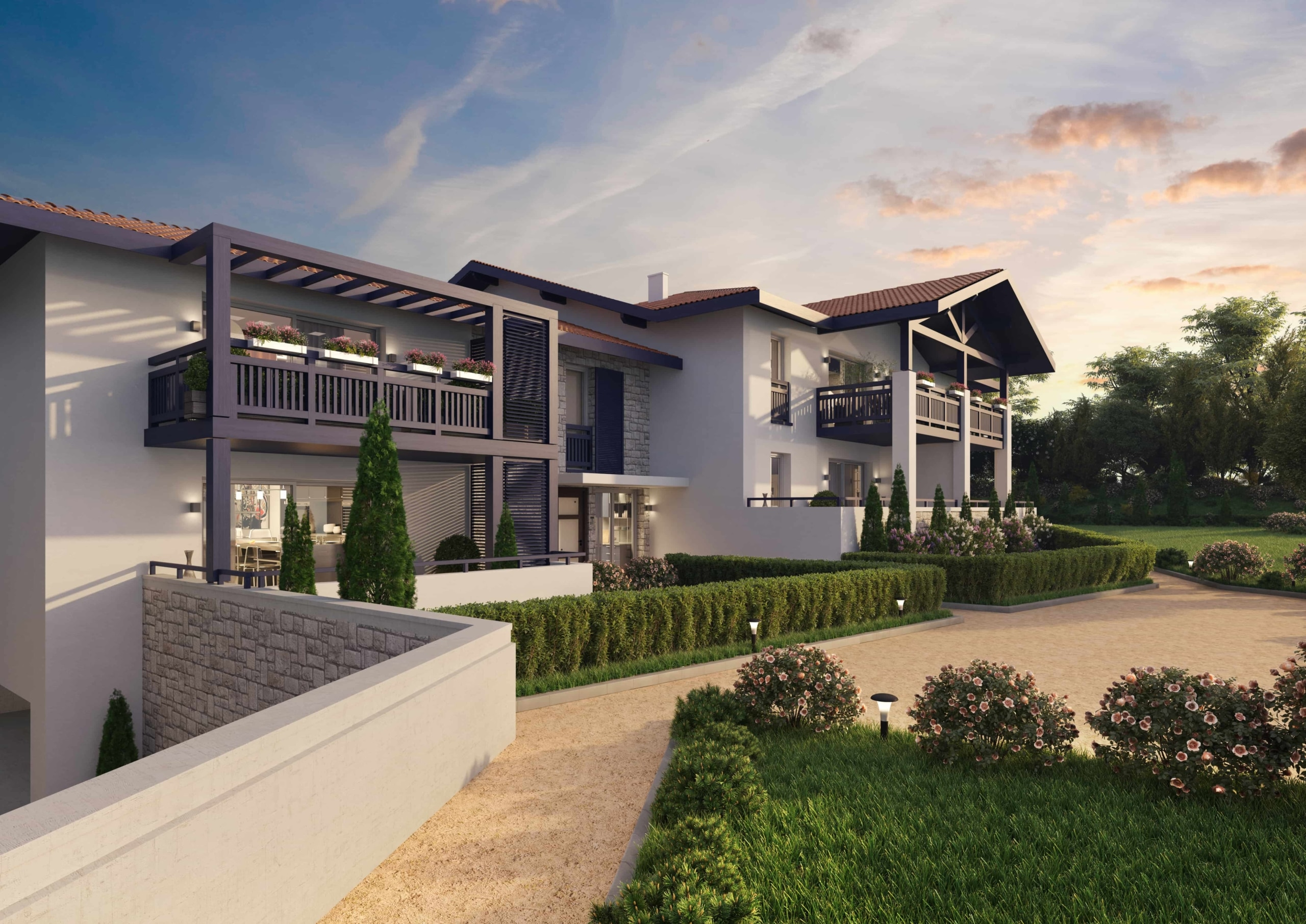 illustration 3D architecture crepuscule programme residentiel neuf
