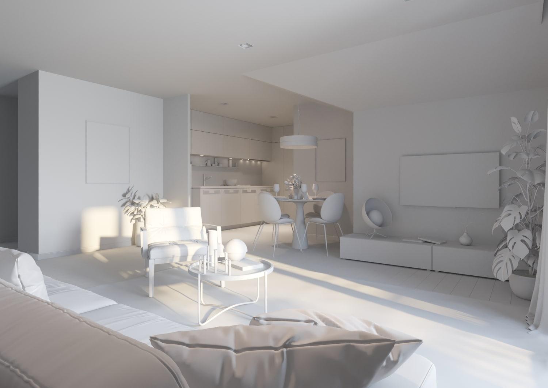 Cadrage blanc 3d interieur architectural